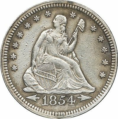 1854 P Seated Liberty Quarter, XF Details