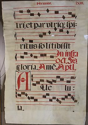 Huge Medieval Liturgy/Music Hymnus Leaf Hand Painted on Vellum Large Initials