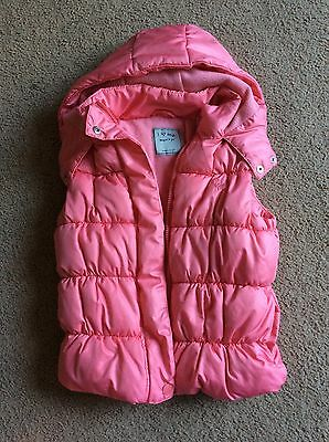 Girls Next Pink Peach Hooded Winter Puffer Body Warmer Gilet Age 7-8 128 CM VGC