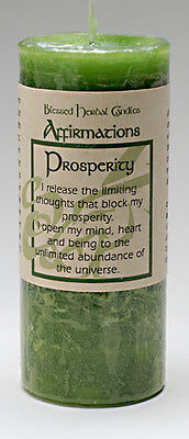 "Prosperity Affirmation Candle | Coventry Creations Money Green 2"" x 4"" pillar"