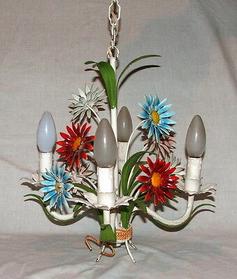 Tole Chandelier - Vintage French - Flowers • CAD $163.01