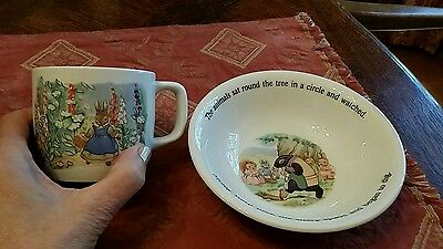 "Adams English Ironstone 6"" Cereal Dish--Little Grey Rabbit and Her Friends + Cup"