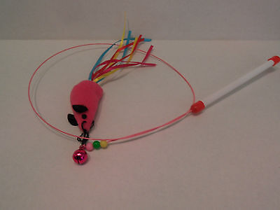 Cat Kitten Mouse Wire Wand Teaser with Bell & Beads 100cm