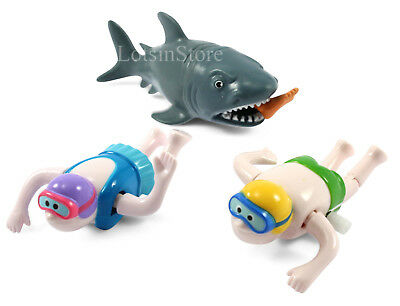 Toy shark and wind up swimmers shark bath toys funny present gift set