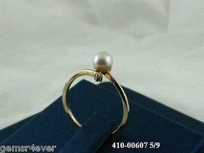 14Kt Yellow Gold Fashion Ring w/a Diamond & Cultured Pearl