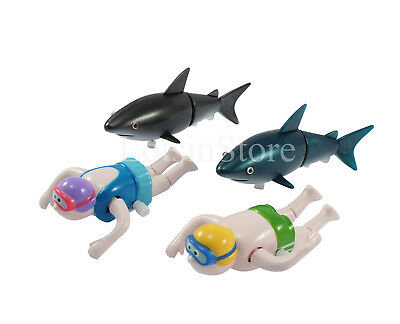 Toy sharks and wind up swimmers bath toys funny Christmas present gift set