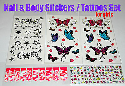 NAIL & BODY & EARS STICKERS TATTOOS for girls Party Bags filler kids children