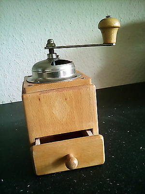 Vintage Wooden Manual Coffee Grinder Spice Mill Working Farmhouse Kitchen