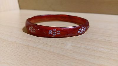 37# Antique Old Ancient Roman, Yemen Red Glass Bracelet