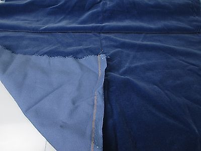 Vintage Velvet Fabric Remnant Germany Cotton 34 in W Sapphire blue