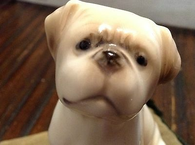 Vintage Sewing Pin Cushion French Bulldog? On Pillow Figurine Porcelain