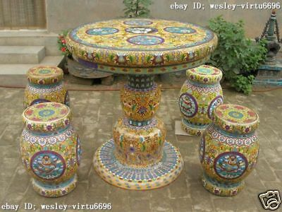 36 INCH CHINA Regius Palace Cloisonne Enamel dragons Table stool Chairs Set