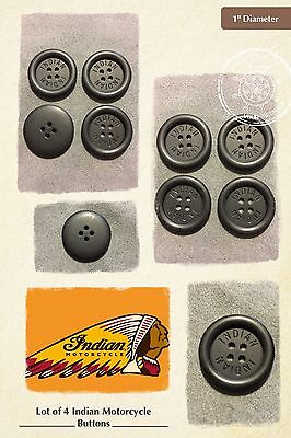 """Indian Motorcycle Buttons 1"""" Diameter Black 4-Hole Sewing Lot of 4"""