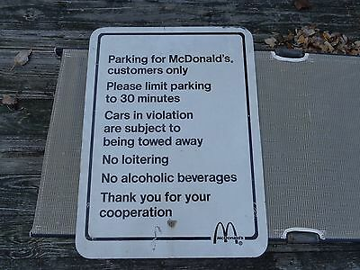 Vintage Controversial  McDonald's Customer's Parking Only Sign Towing