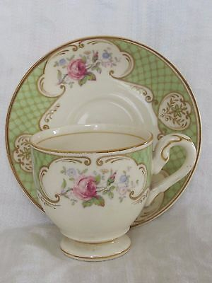 Myott Demitasse Cup & Saucer Gold Green Floral Staffordshire England