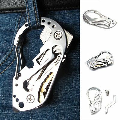 Outdoor EDC Stainless Multi Keychain Screwdriver Wrench Carabiner Pocket Tools