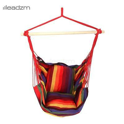 Leadzm Hanging Rope Chair Swing Hanging Hammock Chair Porch Swing Seat Rainbow