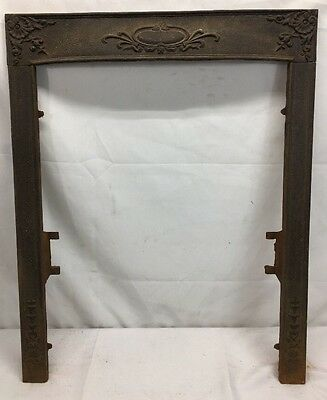 ANTIQUE CAST IRON FIREPLACE SURROUND MANTEL PARTS VICTORIAN (no Summer Cover )