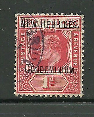 Album Treasures New Hebrides Scott # 8   1p  Edward VII Overprint VF Used CDS