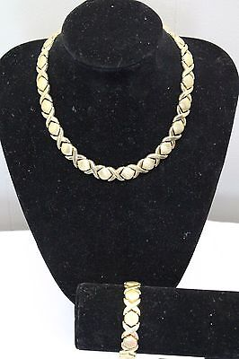 14K Gold Italy YG set of XO Hugs and Kisses 42.5g Necklace and 19.3g bracelet