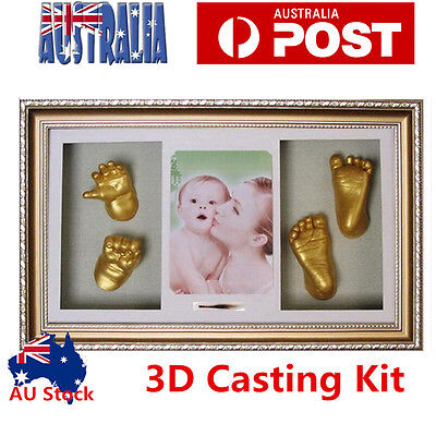 DIY 3D Baby Casting Kit Hand & Foot Print Impression Shadowbox Photo Frame AU