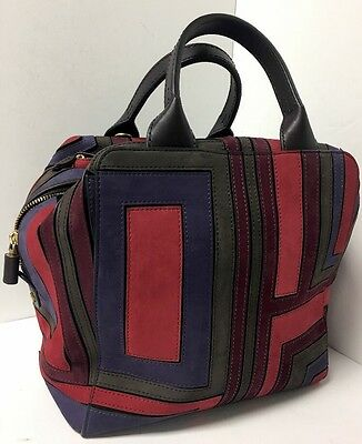 Tory Burch Purse Multi Color Suede Block Design Large Two Brown Handles
