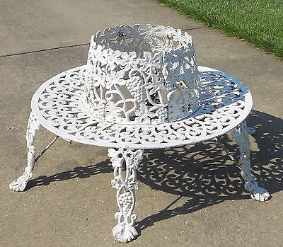 Victorian Antique Ornate Cast Iron Tree Surround  Garden Bench  Grapes Vines vtg
