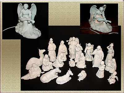 20 Pc Avon Nativity Collectibles Set & Angelic Light White Matte Porcelain 1980s