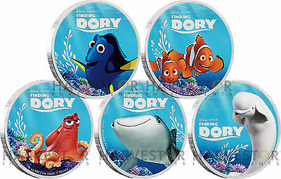 2016 Disney Pixar - Finding Dory - Complete 5 Coin Set In Collector Case W/coa