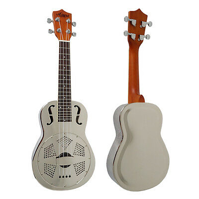 Newly Unique F hole design brass body metal resonator concert ukulele with case