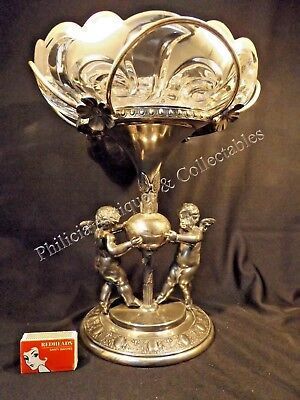 C.1890 American Reed & Barton Silver Plated Centre Piece Swirl Glass Insert.