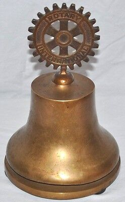 Vintage Rotary International Solid Bronze Bell And Top Russell Hampton Chicago