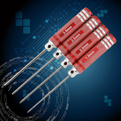 White steel/Titanium Plating Red 4Pcs Hex Screwdriver Screw Driver Tool Set AU