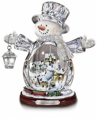 Thomas Kinkade Snowman Figurine Featuring Light-Up Village And Animated Train