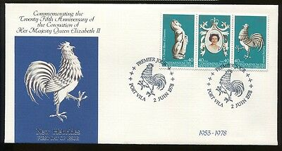 New Hebrides 25th Aniversary Of QEII Coronation, FDC 1978, Rooster  ub909