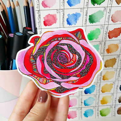 Vinyl Sticker Rose Waterproof Sticker Decal Flower Laptop Sticker Skateboard Art