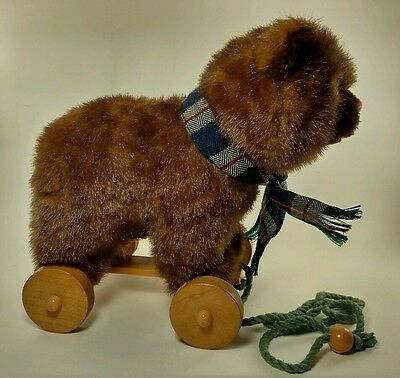"""Vintage 1986 Applause """"Wallace Berrie"""" Plush Bear Pull Toy"""