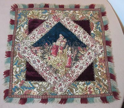 antique 1800's embroidered religious textile embroidery velour needlepoint mat