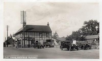 The Swan Pub Hatfield Peverel Nr Witham Motor Car RP old pc used 1930