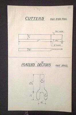 Harland & Wolff - 1930's Original Eng. Drawing CUTTERS, PLATERS' DETECTORS (P65)