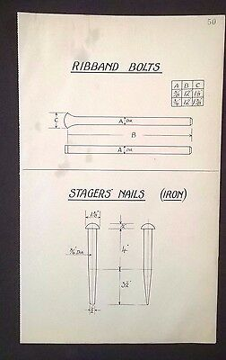 Harland & Wolff 1930's Original Eng. Drawing RIBBAND BOLTS, STAGERS' NAILS (P50)