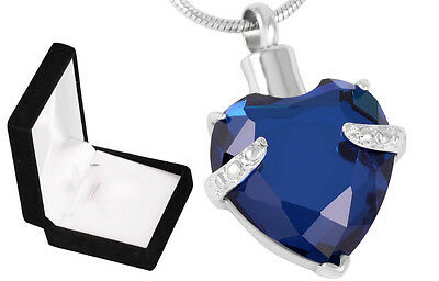Cremation Ashes Jewellery Urn Keepsake Necklace Urn Blue Diamond Heart Pendant