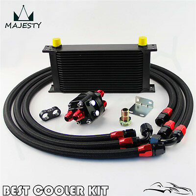 Universal 19 Rows Oil Cooler Kit Oil Filter Relocation Adapter Kit 10AN Black