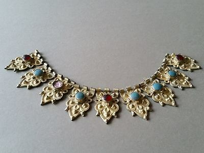 MEDIEVAL & ORIGINAL jewelry silver alloy NECKLACE with gilded
