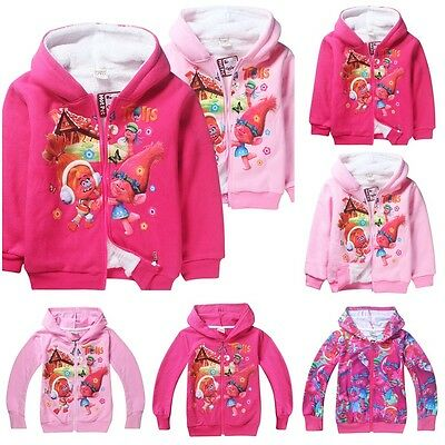 New Kids Long Sleeve Trolls Zipper Hoodies Coat Hooded Cartoon Clothes XMAS GIFT
