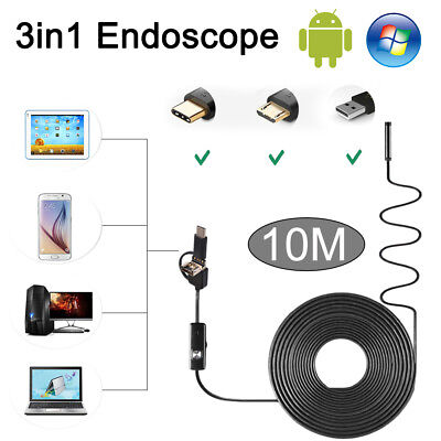 3 in 1 10M Endoscope Micro USB Type C USB Rigid Inspection Cam Adjustable 6 LED