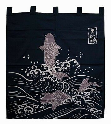 JAPANESE Noren Curtain KOI FISH HAPPY NEW MADE IN JAPAN COTTON
