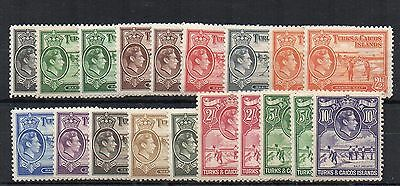 "Turks and Caicos Islands 1938-45 set to 10s  + all ""a"" numbers MLH/MH"