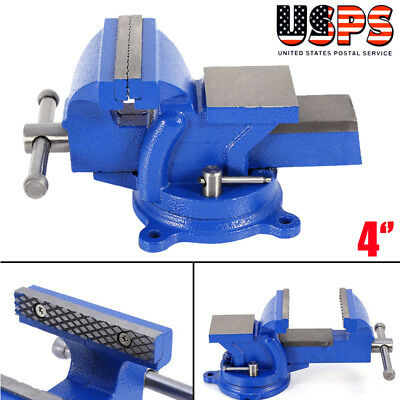 """4"""" Bench Vise with Anvil Swivel Locking Base Table top Clamp Heavy Duty Steel"""