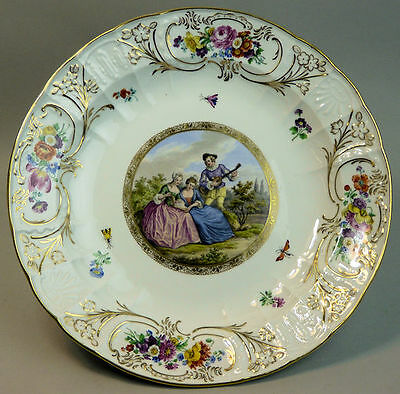 ANTIQUE MEISSEN HAND PAINTED PORCELAIN WALL PLATE 19th CENTURY
